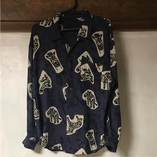 パナマボーイ(PANAMA BOY)の藍色 シマウマ柄 開襟シャツ ヴィンテージブラウス アニマル柄 アートシャツ (シャツ)