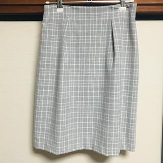アストリアオディール(ASTORIA ODIER)のグレー チェック タイトスカート(ひざ丈スカート)