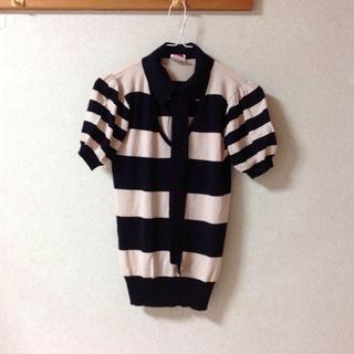 ダブルスタンダードクロージング(DOUBLE STANDARD CLOTHING)のダブルスタンダード   ボーダーニットカットソー(カットソー(半袖/袖なし))