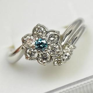 Pt900 プラチナ ブルーダイヤモンド リング 9号 指輪  (リング(指輪))