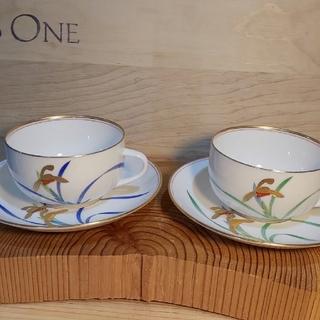 コウランシャ(香蘭社)の香蘭社 ペア碗皿 貴婦人 箱あり(食器)