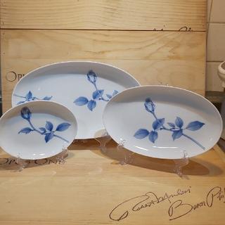 コウランシャ(香蘭社)の香蘭社 三ッ組 楕円皿 ブルーローズ(食器)