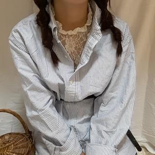 シマムラ(しまむら)のしまむら ストライプ BIGシャツ Yシャツ メンズ ブルー (シャツ)