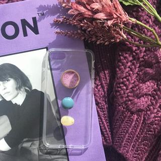 カスタネ(Kastane)のpurple retoro iPhone case handmade(スマホケース)