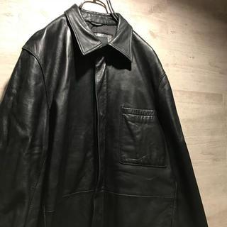 ダーバン(D'URBAN)のDurban レザー シャツ ジャケット 古着 黒 ダーバン 本革 羊革(レザージャケット)
