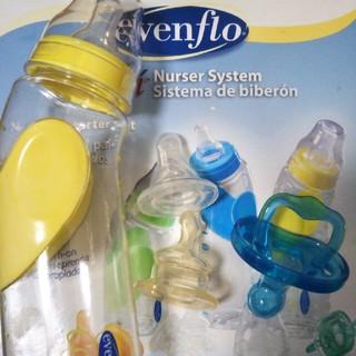 イーブンフロー(evenflo)の新品 evenflo 哺乳瓶 250ml イエロー ニップル3個おしゃぶり付(哺乳ビン)