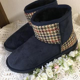シマムラ(しまむら)のしまむら×ハリスツイード♡フェイクムートンブーツ 3L  ネイビー(ブーツ)