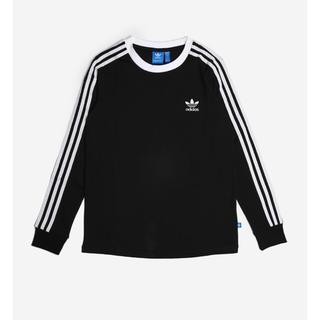 アディダス(adidas)の新品 タグ付き Mサイズ アディダス 3ストライプ LONG TEE 黒(Tシャツ(長袖/七分))