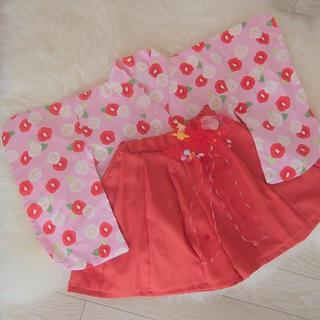 お値引き不可 ☆ ピンクの椿の袴 80(和服/着物)