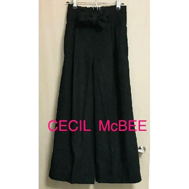CECIL McBEE(セシルマクビー)のセシルマクビー ガウチョパンツ ワイドパンツ Mサイズ 黒 レディースのパンツ(カジュアルパンツ)の商品写真
