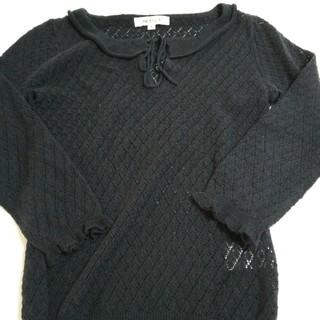 エムケークランプリュス(MK KLEIN+)の透かし模様 黒色セーター (ニット/セーター)