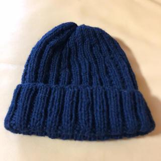 手編み紺キャップ(帽子)
