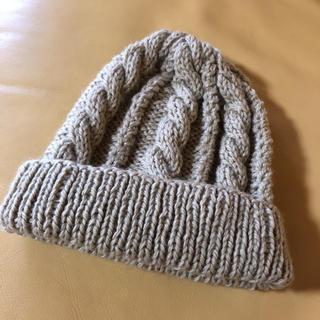 手編み ケーブル編みキャップ(帽子)