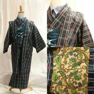 男児 アンサンブル 正絹 紬(和服/着物)