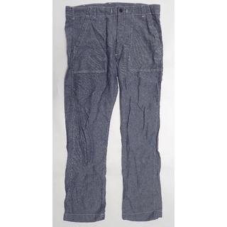 ジーユー(GU)のGU 麻 混 パンツ ネイビー L メンズ men ジーユー ズボン リネン(ワークパンツ/カーゴパンツ)