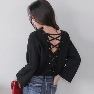 ショップニコニコ(Shop NikoNiko)の韓国ファッション☆パックレースアップトップス(カットソー(長袖/七分))