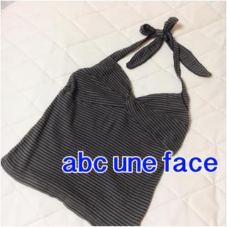 アーベーセーアンフェイス(abc une face)のアーベーセー 黒×グレー ボーダーホルターネック レース(ホルターネック)