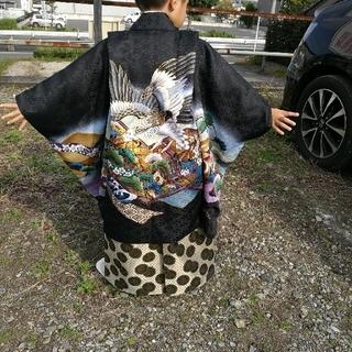 七五三 五歳 男の子 着物 黒に鷹 袴は金色(和服/着物)