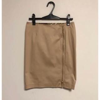 マーズ(MA*RS)のMARS ベージュ ジップ タイトスカート ラインストーン付(ひざ丈スカート)