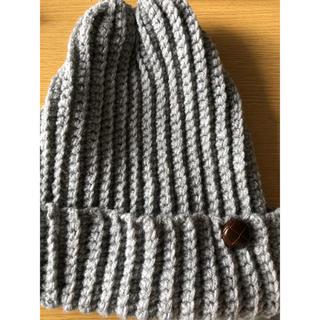 ニット帽 グレー ボタン付き(帽子)