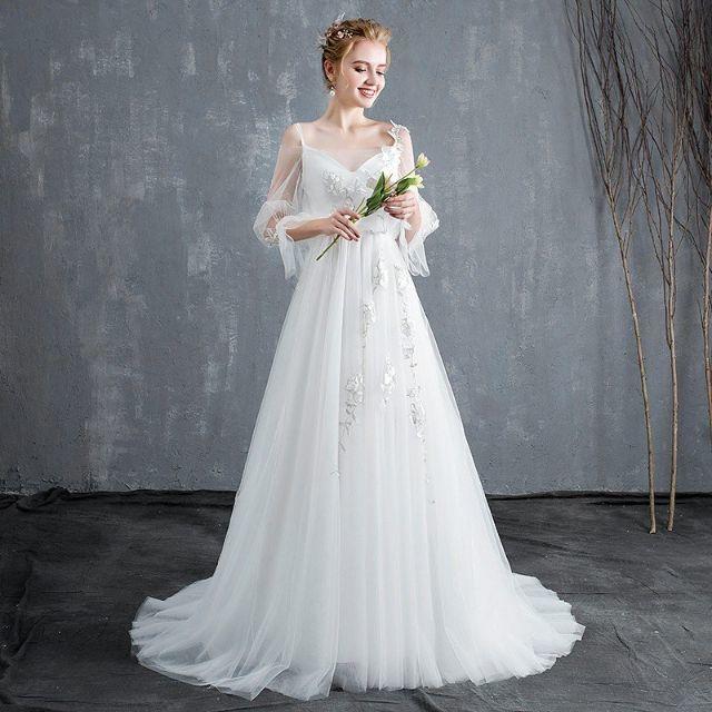 18930112aeca16 ウエディングドレス aライン 安い 長袖 白 ウェディングドレス ロング 花嫁 レディースのフォーマル/ドレス