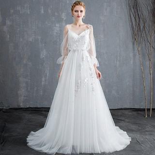 ウエディングドレス aライン 安い 長袖 白 ウェディングドレス ロング 花嫁