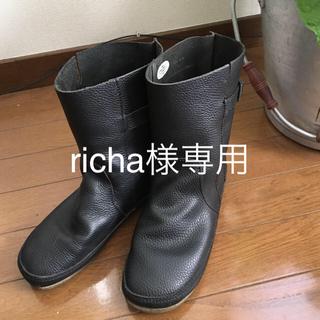 コース(KOOS)の◆KOOS風◆本革 ミディアム丈 ぺたんこブーツ バングラデシュ製 レザー(ブーツ)