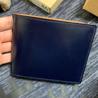 ガンゾ(GANZO)のGANZO シンブライドル  二つ折り財布 ネイビー(折り財布)