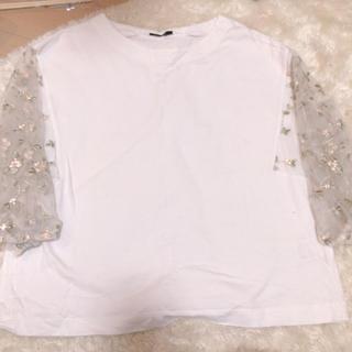 ティップトップ(tip top)のtip top 刺繍 トップス  シャツ 花柄 ホワイト(シャツ/ブラウス(長袖/七分))