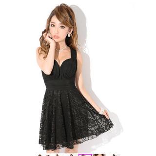 定価の半額以外に値下げ!ドレス レース黒 (ミニドレス)