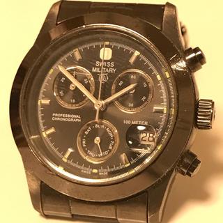 スイスミリタリー(SWISS MILITARY)のスイスミリタリー クロノグラフ ブラックメタル(腕時計(アナログ))