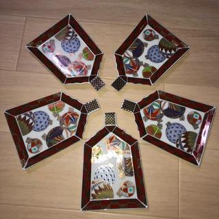 美濃焼き   色絵手毬羽子板皿セット(陶芸)