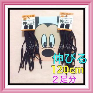 靴ひも 伸びる ゴム【 120cm  黒 】 2足分セット(紐数4本) 靴紐(スニーカー)