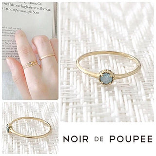 ノワール(NOIR)の美品 NOIR DE POUPEE ノワールドプーペ K10 アクアマリンリング(リング(指輪))