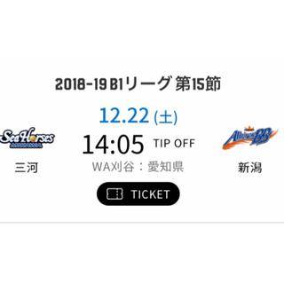 Bリーグチケット 12/22 シーホース三河vs新潟アルビレックス(バスケットボール)