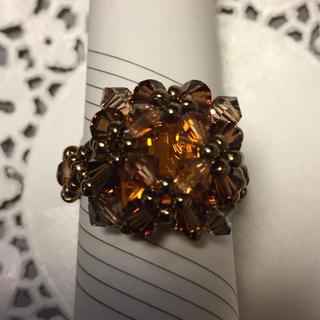 ブラウン系のスワロフスキー指輪(リング(指輪))