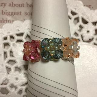 3色スワロフスキーのリング(リング(指輪))
