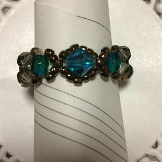 ブルー系スワロフスキーのリング(リング(指輪))