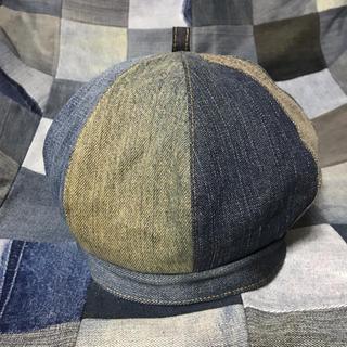 デニムリメイク ベレー帽 ベレー ハンドメイド 帽子 パッチワーク パッチ (帽子)