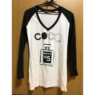 デイライル(Delyle)のDELYLE 白ホワイト×黒ブラック ラグランロンT cocoデザイン(Tシャツ(長袖/七分))