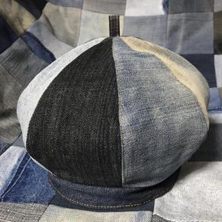 ハンドメイド デニムリメイク ベレー帽 ベレー デニム 帽子 パッチ ジーンズ(帽子)