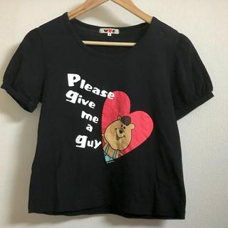 ダブルシー(wc)の【wc/ダブルシー】クマタンの半袖黒TシャツS 若槻千夏(Tシャツ(半袖/袖なし))