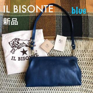 イルビゾンテ(IL BISONTE)のレア♡ブルー♡価格3.7万✱イルビゾンテ✱3way レザー がま口 バッグ✱青(ハンドバッグ)