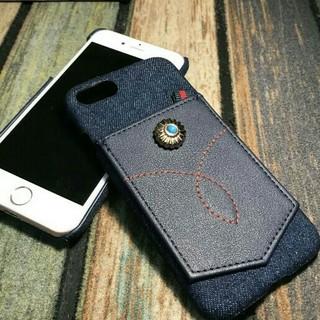 d0577a4dee 選べるコンチョ♪iPhone 7☆ハンドメイド☆デニムレザークラフトスマホケース(iPhoneケース