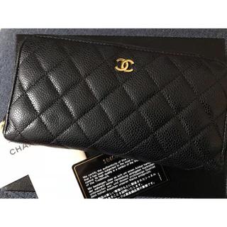 シャネル(CHANEL)の正規店購入 CHANEL マトラッセ  キャビアスキン  ラウンドファスナー(財布)