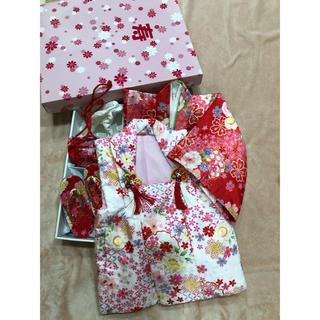 七五三 フルセット3歳縫い上げ済 一式セット 赤ピンク 寿箱入り(和服/着物)