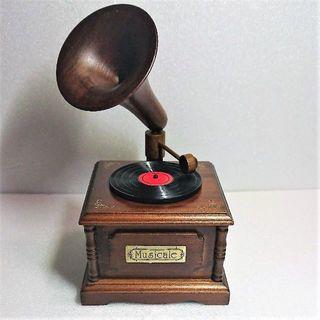 アンティーク木製ミニレコードプレーヤーオルゴール(オルゴール)