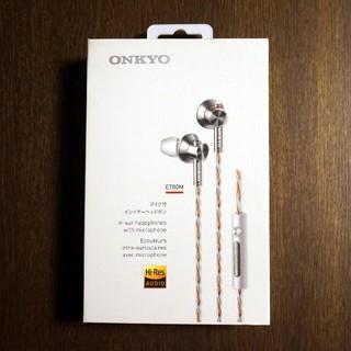 オンキヨー(ONKYO)の美品 ONKYO ハイレゾ対応イヤホン E700M ホワイト(ヘッドフォン/イヤフォン)
