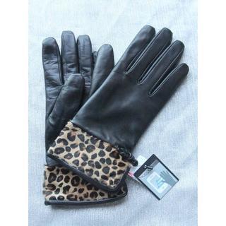 ケイタマルヤマ(KEITA MARUYAMA TOKYO PARIS)の新品タグ付◆ケイタマルヤマ◆スマホ対応 高級レザーヒョウ柄羊革手袋21cm(黒)(手袋)