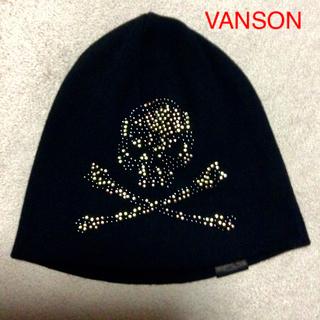 バンソン(VANSON)のVANSON ニット帽 サイドスカル(ブロンズ)(ニット帽/ビーニー)